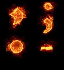 Burning fire alphabet symbols