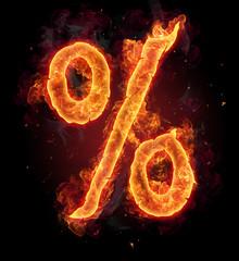Burning fire alphabet symbol of percentage