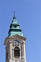 Old church tower with clock