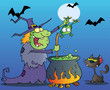 Witch With Black Cat Holding A Frog And Preparing A Potion