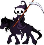 Cartoon grim reaper riding horse