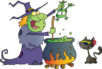 Crazy Witch With Black Cat Holding A Frog And Preparing A Potion