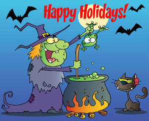 Happy Holidays Greeting Over A Witch With Black Cat