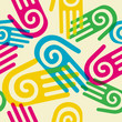 Colorful Pattern hands with spiral symbol