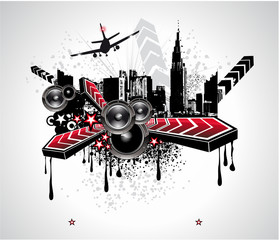 Urban Abstract Disco Music Background