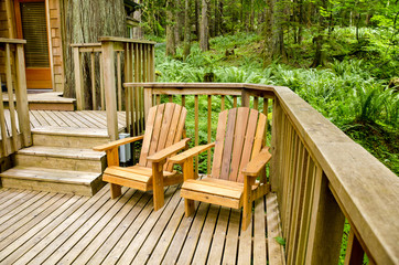 Adirondacks on a Deck in the Forest