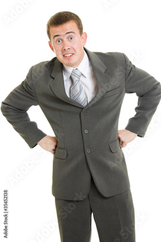 Businessman surprise on a white background.