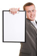Businessman shows a blank page on a white background.