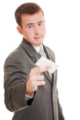 Businesswoman with visit card in his hand.