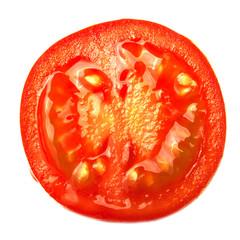 Sliced red tomato on white background