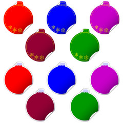 stickers with a shape of christmas ball