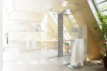 Bathroom designed in the mansarde (drawing)