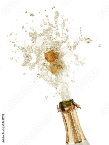 Explosion of champagne bottle cork - 35652713