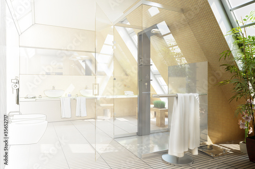 Bathroom designed in the mansarde (drawing)