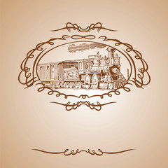 Old Train Brown Banner