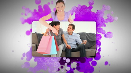 Woman showing a couple after shopping