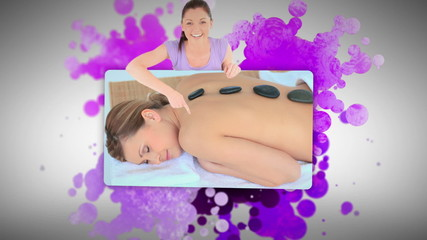 Woman showing a woman lying in a spa