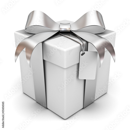 Gift box with silver ribbon bow and blank tag