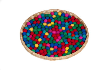 Colorful bobbles in tray
