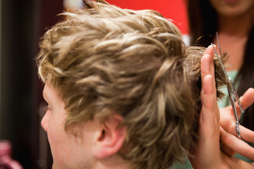 Student having a haircut