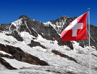 Dom and Taschhorn with Swiss flag - Swiss alps