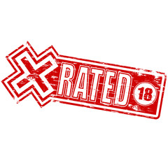 """Rubber stamp illustration showing """"X RATED"""" text and 18 symbol"""