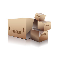 shipping boxes with FRAGILE text