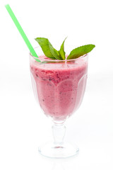 Pink smoothies with decoration