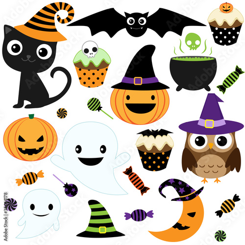 Set of cute vector Halloween elements, objects and icons