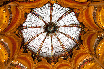 Lafayette Galleries dome in the center of Paris France