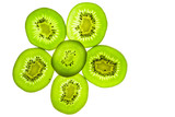 Slice kiwifruit in floral pattern