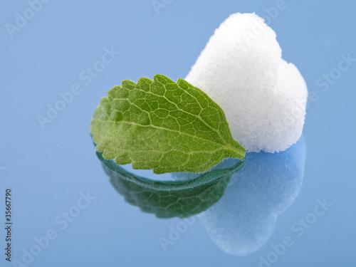 Steviablatt und Zuckerherz
