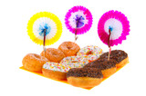 Birthday donuts with colorful glaze