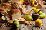 Fruits, bread and jam