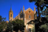 Parish church in rays of sun, sunrise, Madrid poster