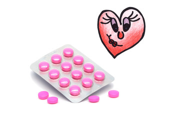 Drugs and illustrated broken heart with a smile