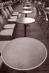 Cafe Terrace in Black and White Sepia Tone, Paris