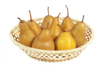pears in basket on white