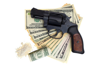 handcuffs, gun and money isolated on a white background