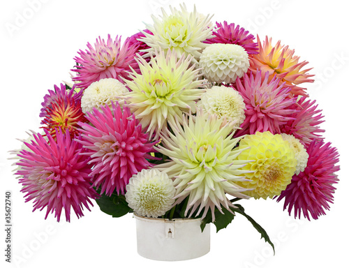 Fotobehang Dahlia Flower arrangement of chrysanthemums and dahlias