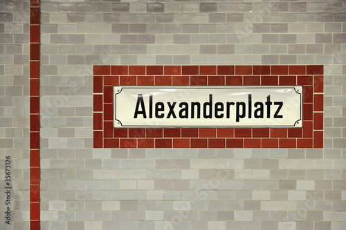 Alexanderplatz metro station sign in Berlin
