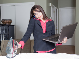 Stern Hispanic multitasking business woman housewife