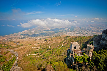View from Erice Mountain towards Trapani