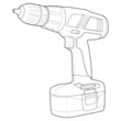 Detailed Illustration of a Cordless Power Drill