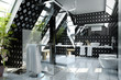 Bathroom in silver-black