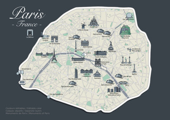 Plan de Paris - Version Luxe avec Monuments (4)