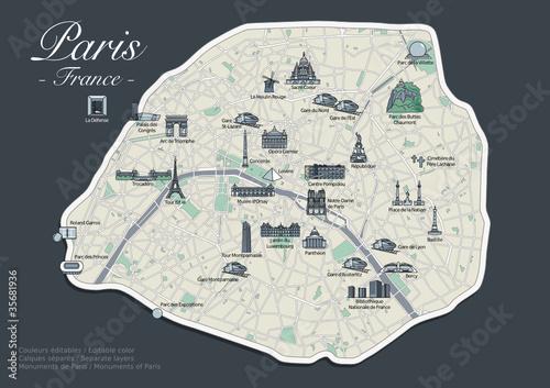 Plan de Paris - Version Luxe avec Monuments (4)