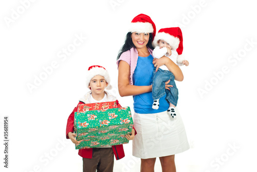 Mother with their sons at Christmas