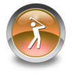 "Orange Glossy Pictogram ""Golfing"""