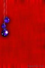 Biglietto auguri rosso con palline blu